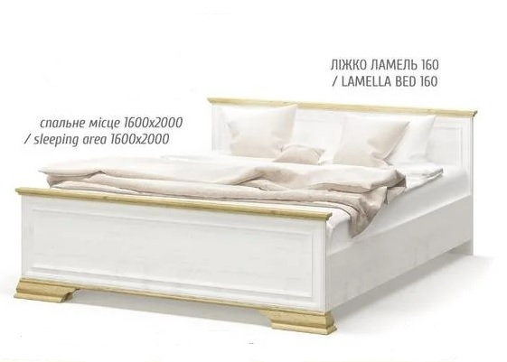 """""""Іріс"""" (дуб золотий)  Ліжко ламель_1600_з ламелями"""