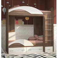 Двоповерхове ліжко права драбина  дуб трюфель/ дуб сонома
